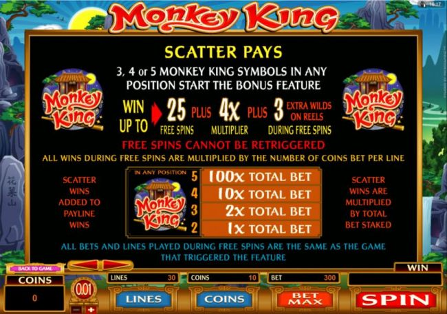 Scatter pays - 3, 4 or 5 Monkey King Symbols in any position start the bonus feature.