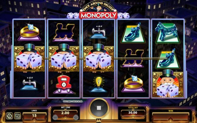 Three Uncle Pennybags holding a pair of dice on an active payline triggers the Once Around Deluxe bonus feature.