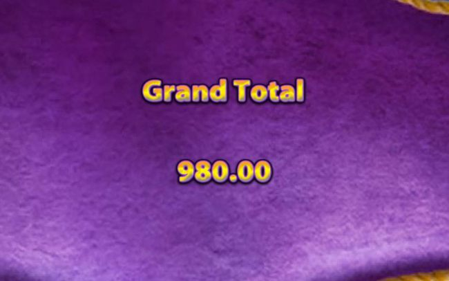 Total payout for the bonus feature is 980.00