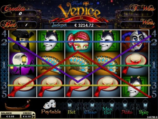 Main game board featuring five reels and 5 paylines with a $5,000 max payout
