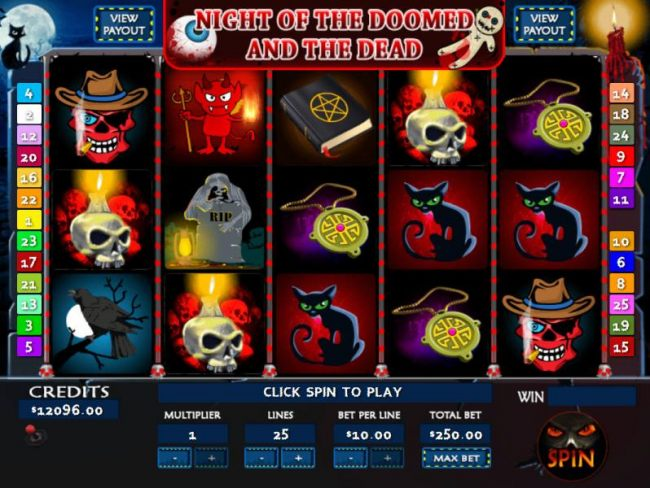 Main game board featuring five reels and 25 paylines with a Jackpot max payout