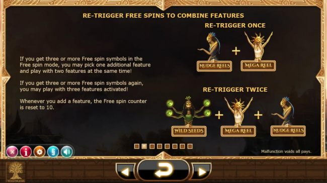 Re-Trigger Free Spins to combine features. If you get three or more free spin symbols in the free spin mode, you may pick on additional feature and play with two features at the same time. If you get three or more free spin symbols again, you may play wit