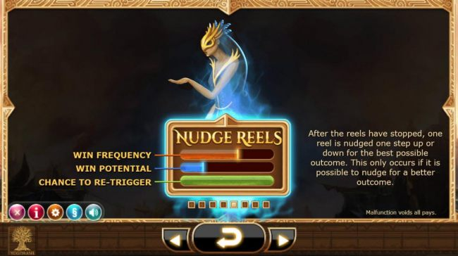 Nudge Reels - After the reels have stopped, one reel is nudged one step up or down for the best possible outcome. This only occurs if it is possible to nudge for a better outcome.