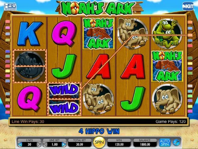 here is an example of two split symbols triggering a 120 coin jackpot