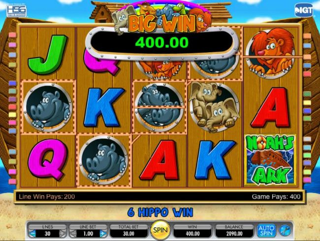 six hippos trigger a 400 coin big win payout