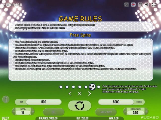 General Game Rules and Free Spins Rules