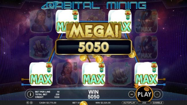 A five of a kind leads to a whopping 5,050 coin super jackpot payout.