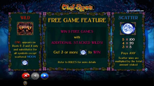 wild and scatter symbols paytable. Free game Feature