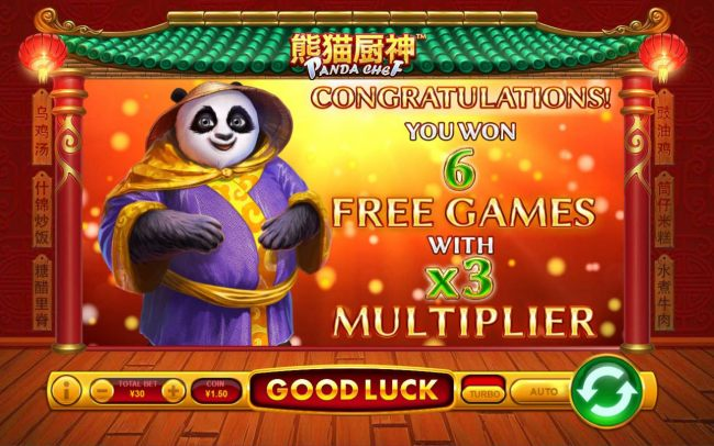 Player is awarded 6 free games with an x3 win multiplier