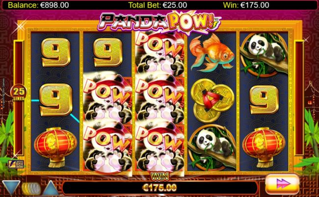Landing five or more red panda bonus symbols triggers the free spins feature.