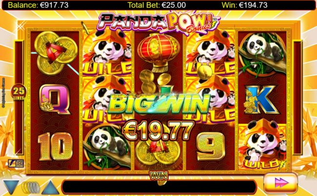 Gold Panda symbols triggers multiple winning paylines during the free spins feature.