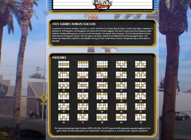Free Games Bonus Feature Rules and Payline Diagrams 1 to 30