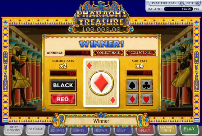 the game offers a gamble feature after each winning spin. You have the option to select the color or suite