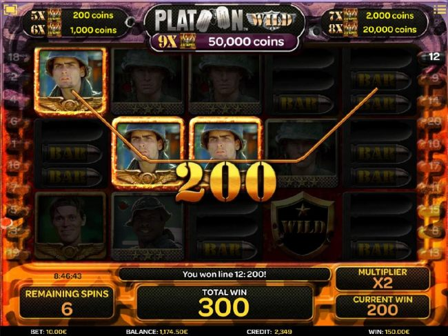 A three of a kind triggers a 200 coin payout during the free spins feature.