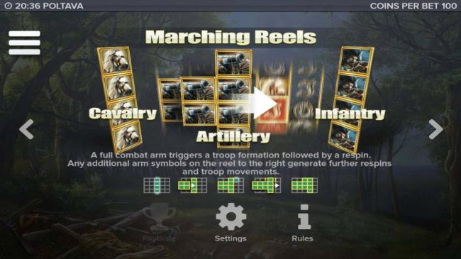 Marching Reels - A full combat arm triggers a troop formation followed by a respin. Any additional arm symbols on the reel to the right generate further respins and troop movements.