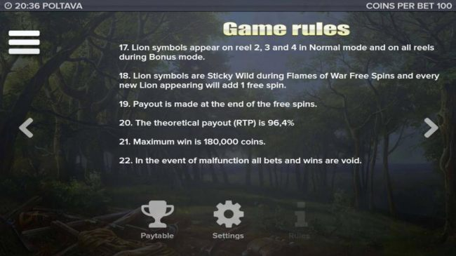 General game rules 17 to 22, The theoretical payout (RTP) is 96.4%