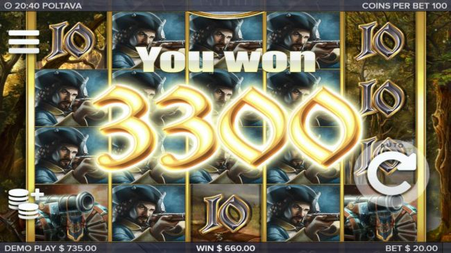 The Marching Reels feature leads to a 3300 coin big win.