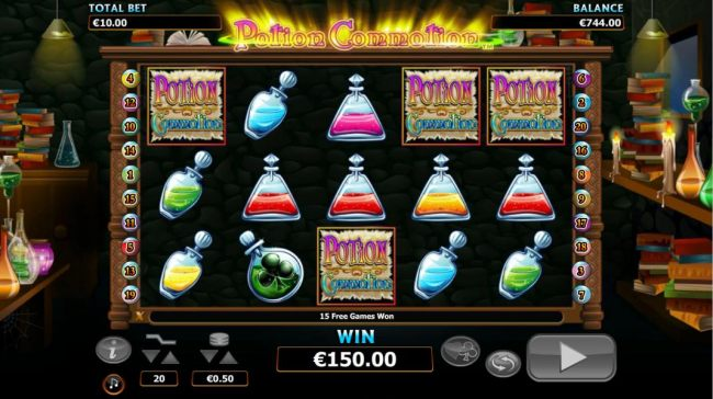 four scatter symbols triggers a $150 payout along with 15 free games