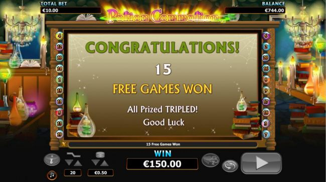 15 free games awarded - all prizes tripled