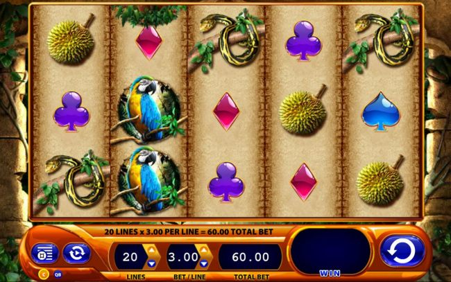 A jungle themed main game board featuring five reels and 20 paylines with a $2,250 max payout