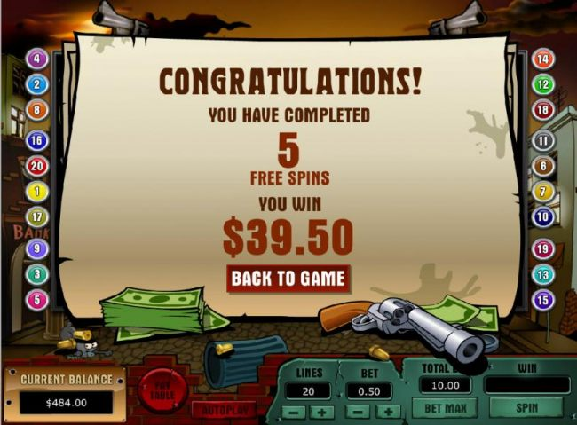 free spins feature pays out a total jackpot of $39.50