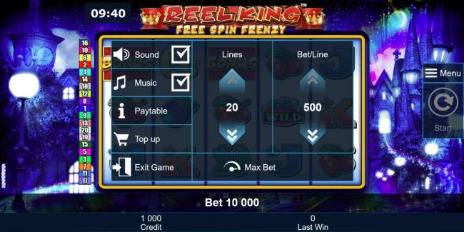 Click on the Menu option to adjust line stake, paytable or other ame options.