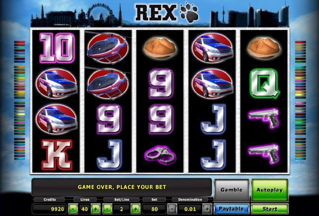 Main game board featuring five reels and 40 paylines with a $100,000 max payout
