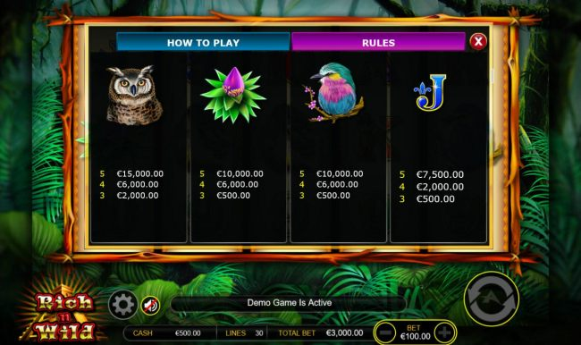 Medium Value Slot Game  Symbols Paytable.