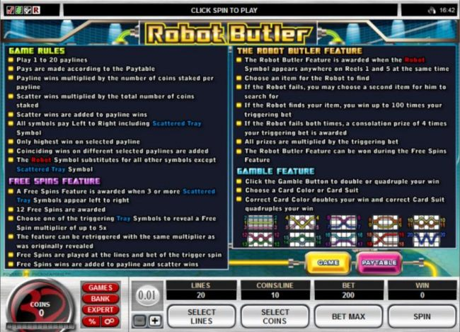 Game Rules, Free Spins Feature, The Robot Butler Feature and Gamble Feature Rules