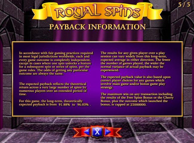 Payback Information - Theoretical return To Player is from 91.88% to 96.03%. The maximum win on any transaction is capped at 25,000,000.
