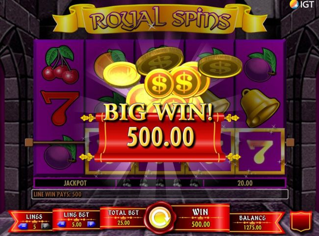 Player is awarded a 500.00 Big Win.