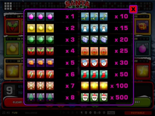 Slot game symbols paytable - high value symbols include Santa Claus, a yellow star, a red stocking and a snowman