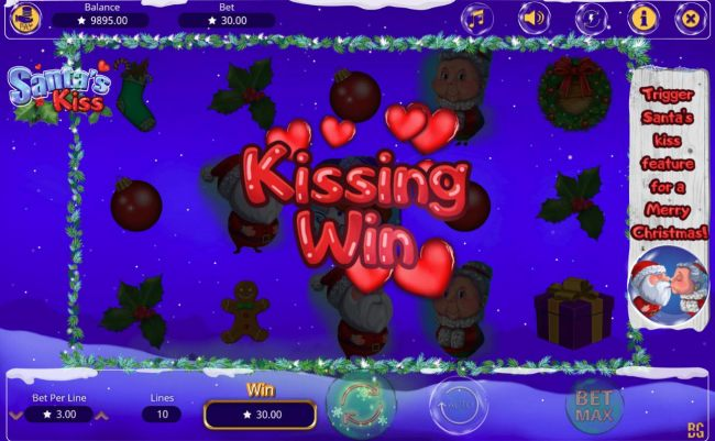 A Kissinf Win awards 300 credits