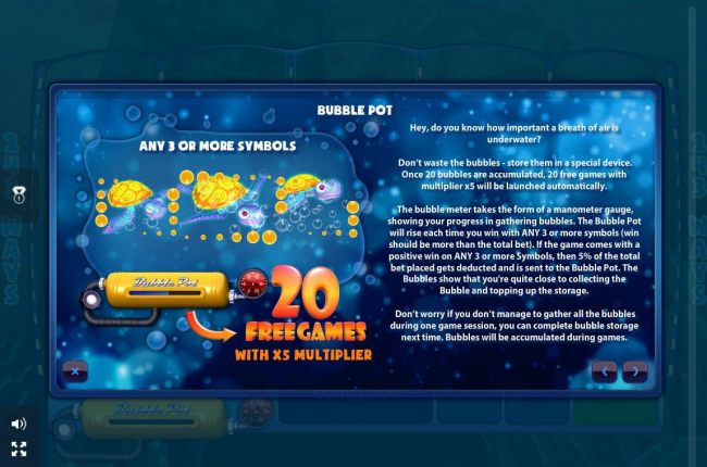 Bubble Pot Rules - collect bubbles with any 3 symbol win