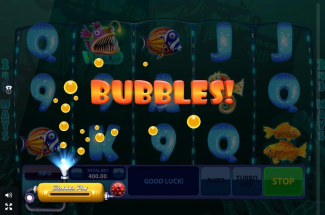 Collect bubbles, when the tank is full player is awarded 20 free games.