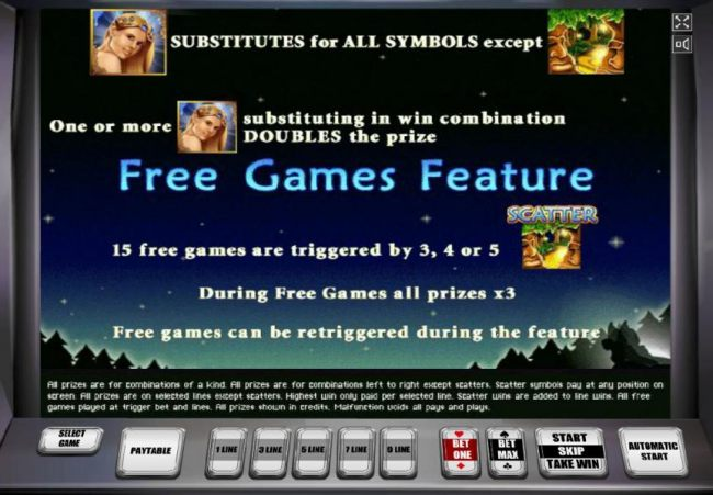 The Fairy represents the wild symbol. 3, 4 or 5 scatter symbols triggers 15 free games