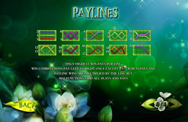Payline Diagrams 1-20. Only the highest win per bet line is paid. Win combinations pay left to right only except the moon flower scatter symbol which pays any. Payline wins are multiplied by the line bet.