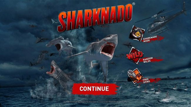 Game features include: Sharknado Mode, Random Wilds and Free Spins.
