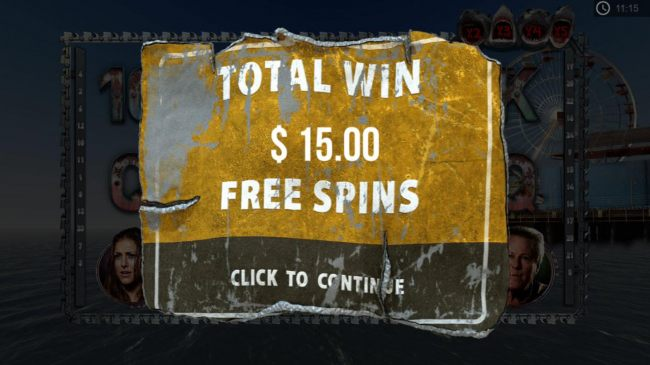 Free Spins feature pays out a total of 15.00