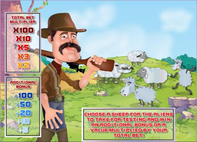 Bonus Feature Game Board - Choose a sheep for the aliens to take for testing and win a prize.