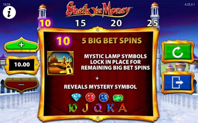Big Bet Games - Sleect the bet level and click play. Magic lamp symbols lock in place for remaining Big Bet spins.