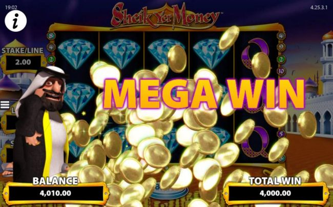 Mystery lamp symbols reveal diamond symbols staked on reels 1, 2, 3 and 4 thus triggering a 4,000.00 mega win