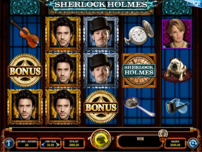 Main game board based upon the mysterious action-adventure of Sherlock Holmes theme, featuring five reels and 30 paylines with a $25,000 max payout