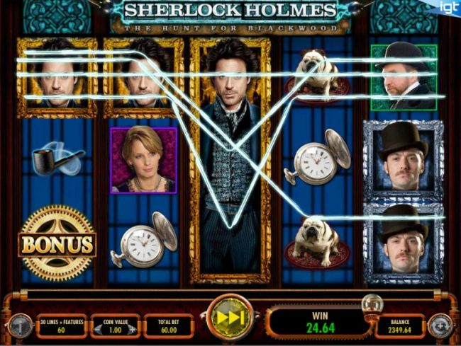 Multiple winning paylines triggered by exapnded Sherlock Holmes symbol on 3rd reel.