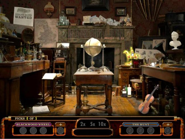 Select up to 5 objects located in Sherlock Holmes room to reveal clues or win cash prizes.