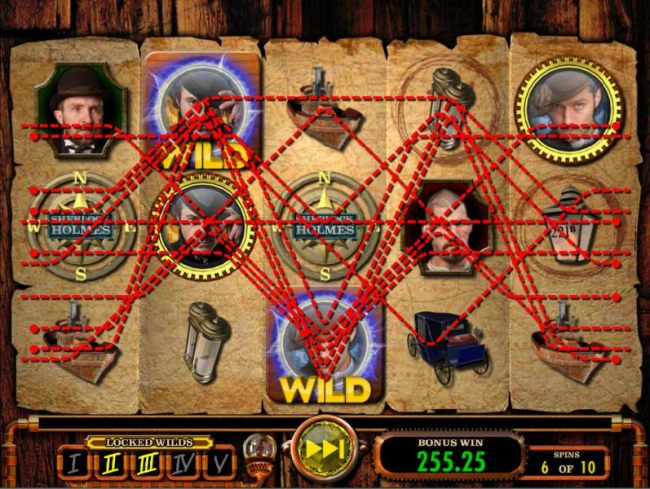 Two locked Wilds trigger multiple winning paylines and a big win during the free spins.
