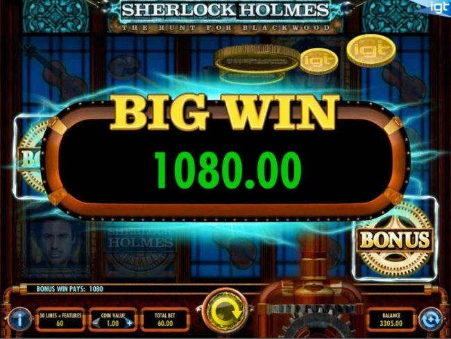 A 1,080.00 big win awarded for the free spins feature.