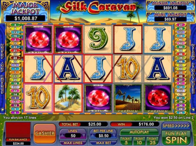 multiple winning paylines triggers a $176 jackpot