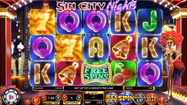 A Vegas casino themed main game board featuring five reels and 25 paylines with a $2,330,000 max payout