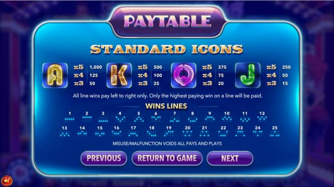Low value game symbols paytable and payline diagrams 1 to 25.
